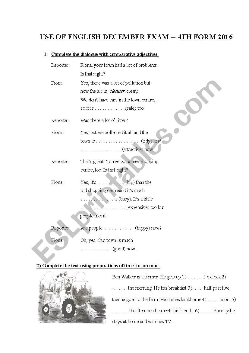 Dialogue Worksheets 4th Grade Use Of English Exam 4th Grade Esl Worksheet by Carlamon