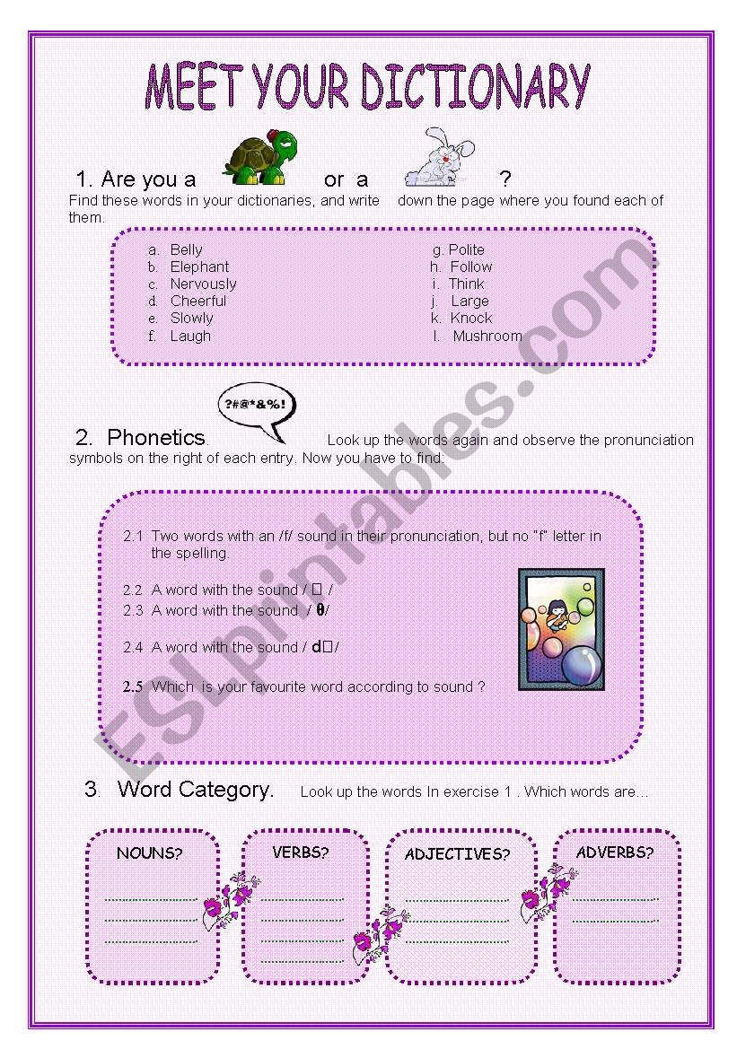 Dictionary Skill Worksheets 3rd Grade Dictionary Skills Esl Worksheet by Marta73