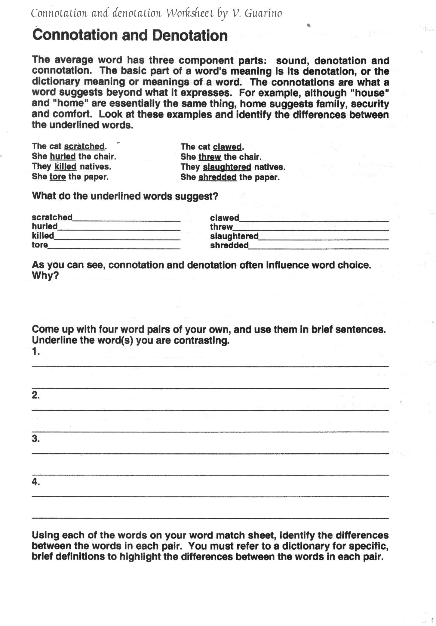Dictionary Skills Worksheets Middle School Connotation and Denotation Worksheets for Middle School