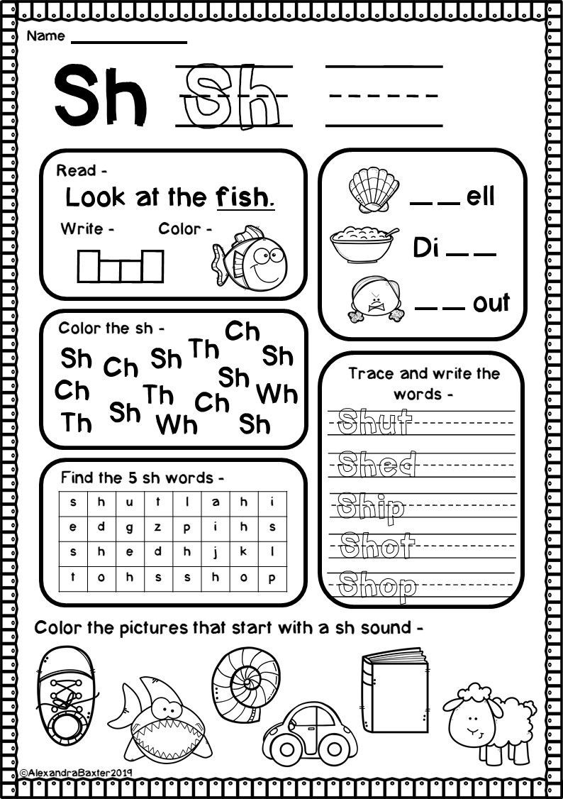 Digraph Worksheets for First Grade Sh Digraph Worksheets