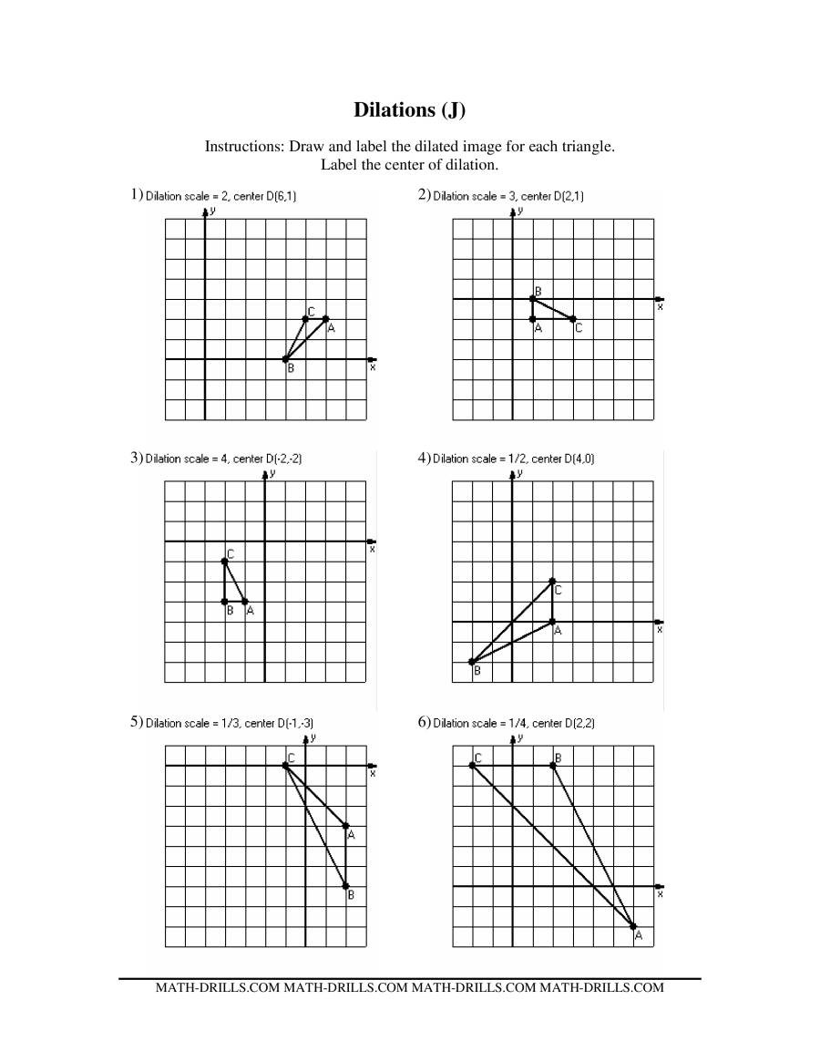 Dilations Worksheet 8th Grade Dilations Math Worksheet