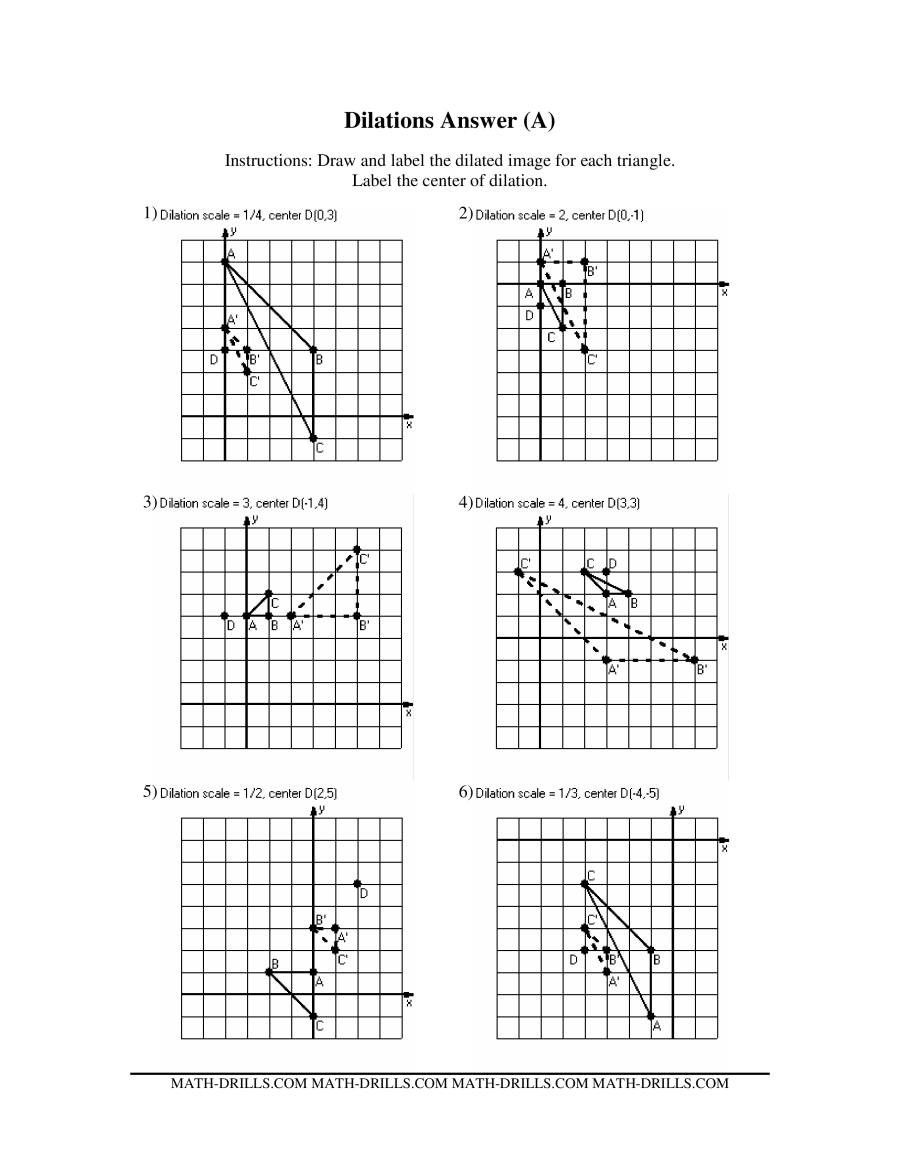 Dilations Worksheet 8th Grade Dilations Old Version Dilation Math Worksheets with Answers