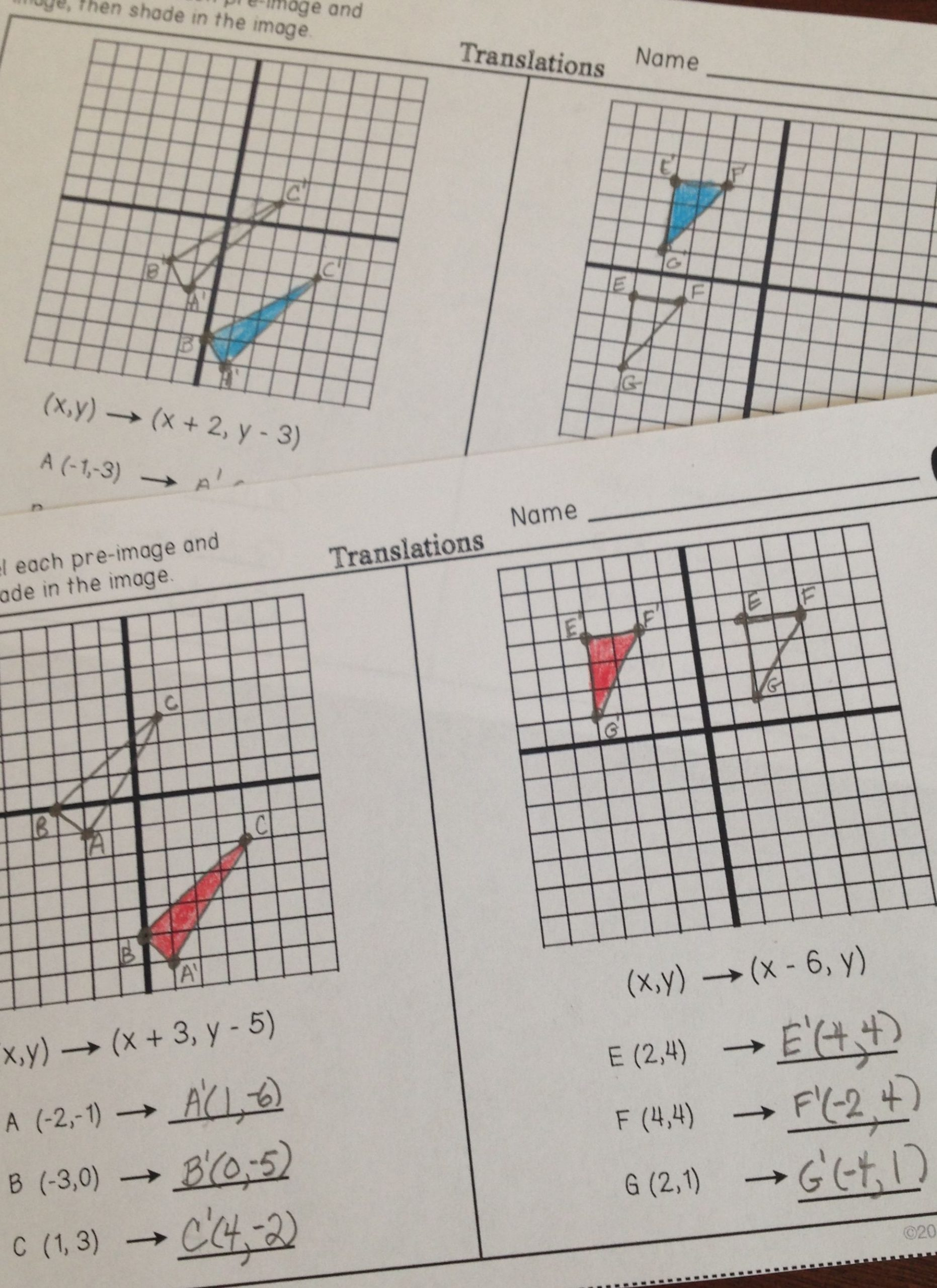 Dilations Worksheet 8th Grade Transformations Partner Practice Worksheets