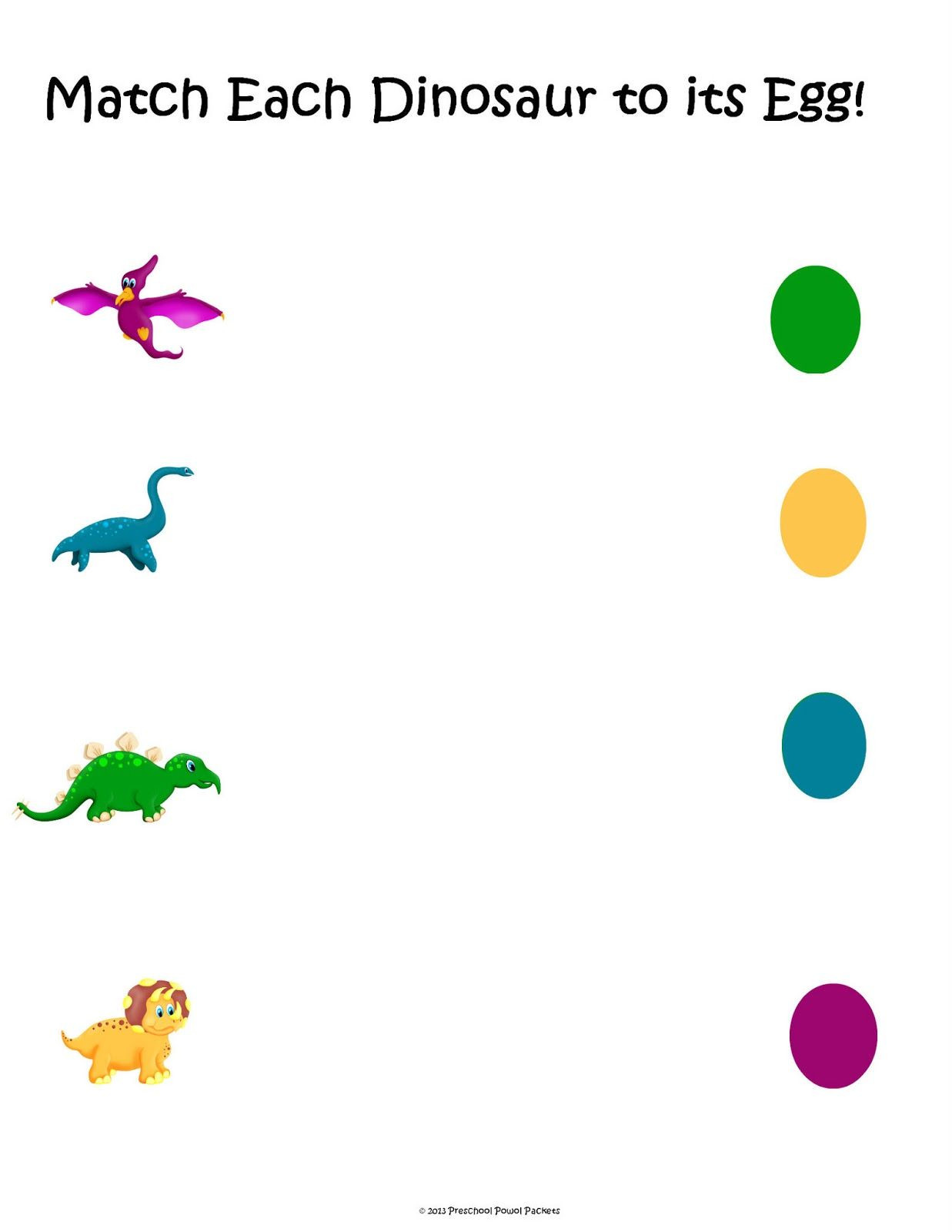 Dinosaur Worksheets for Preschoolers Free Dinosaur Matching Packet