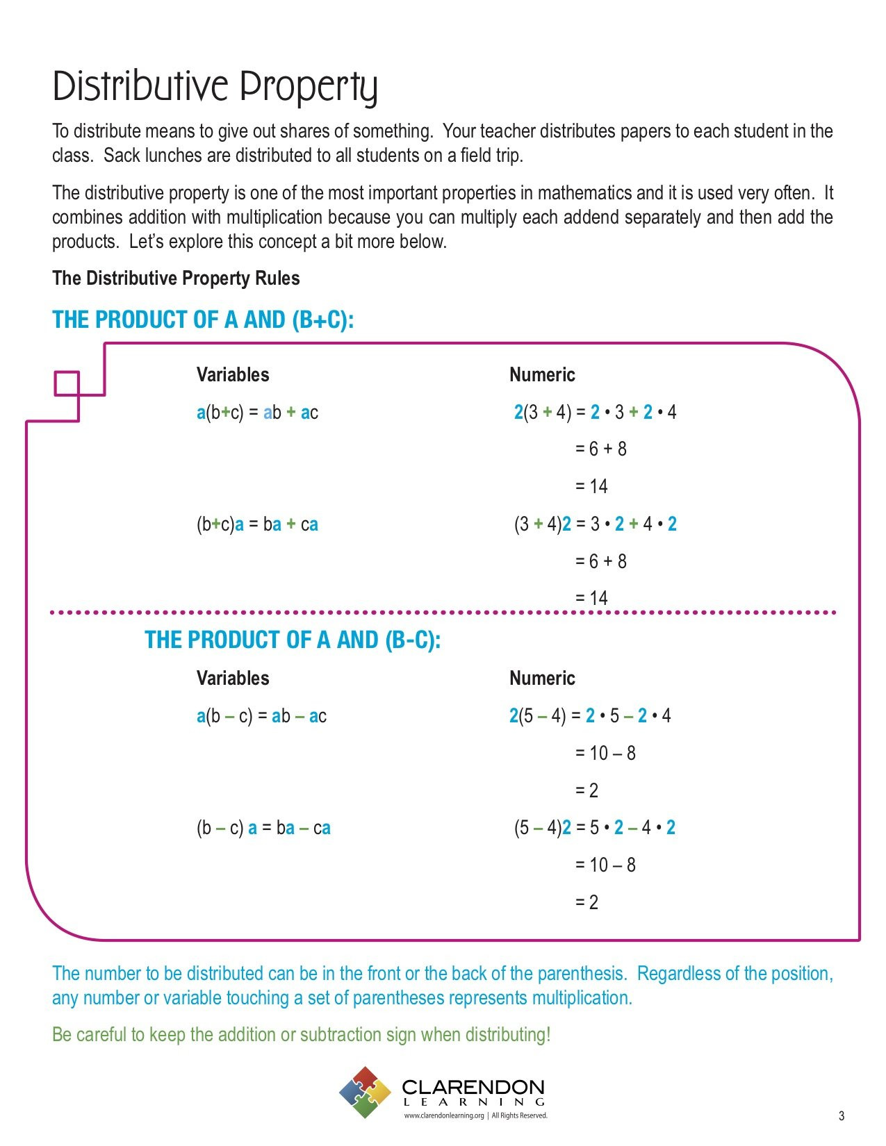 Distributive Property 6th Grade Worksheet Distributive Property Lesson Plan