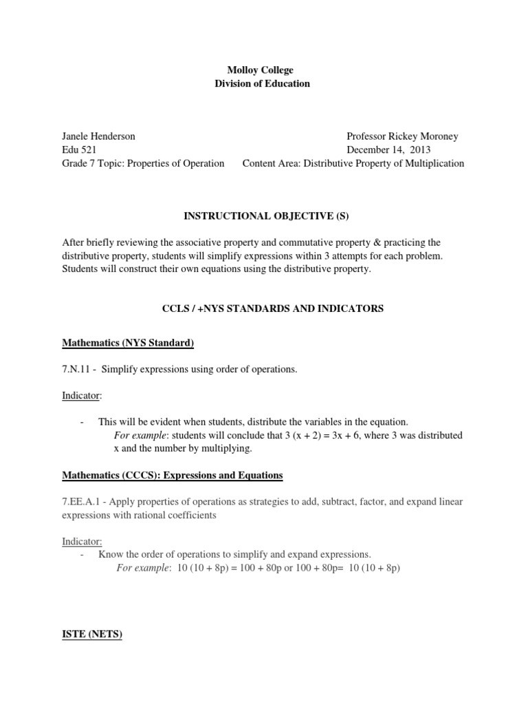 Distributive Property Worksheets 7th Grade Distributive Property Lesson Plan Worksheet