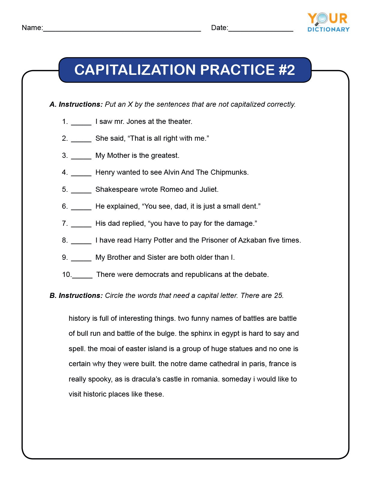 Dol 4th Grade Worksheets 4th Grade Capitalization Worksheets