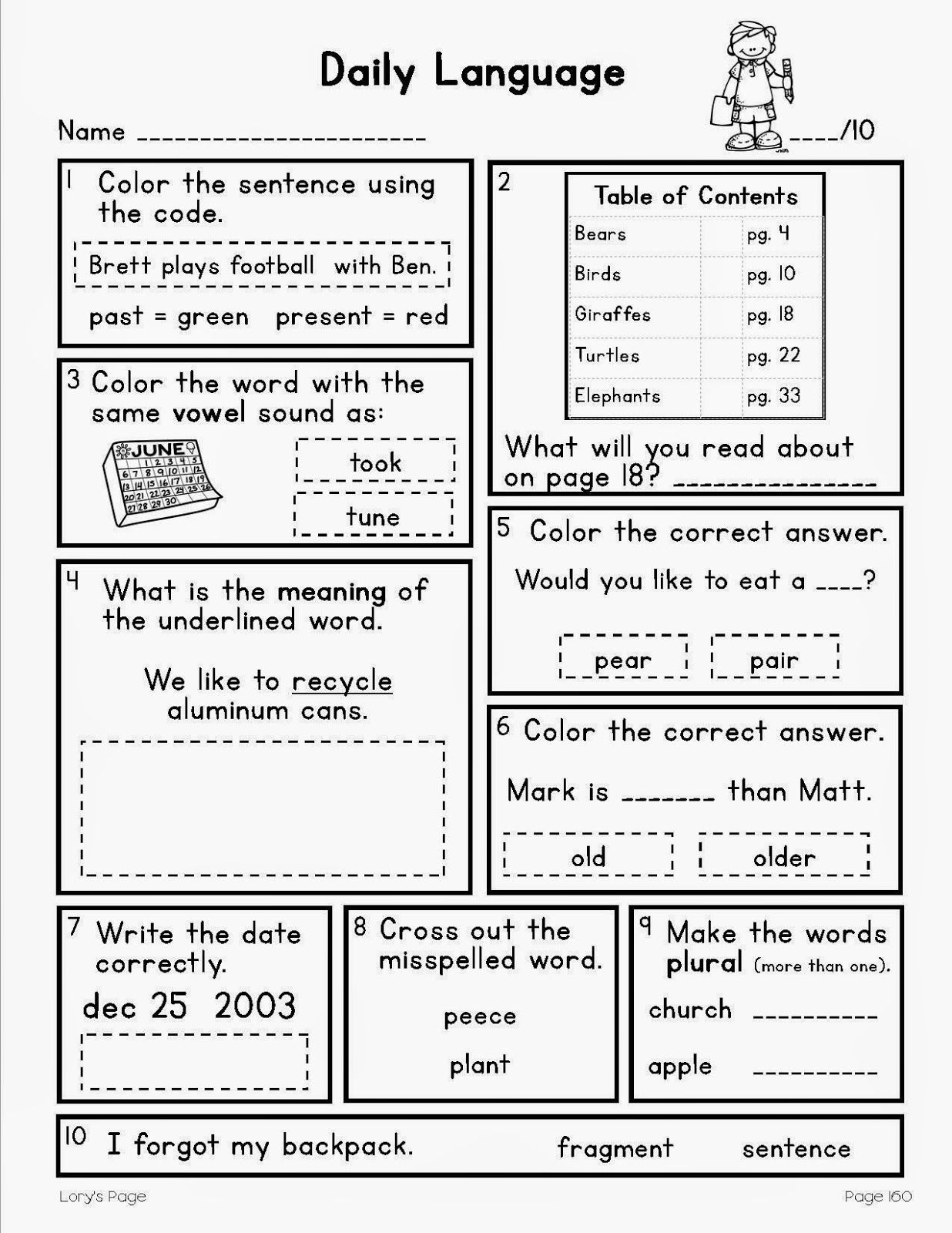 Dol 4th Grade Worksheets Daily Language All Year