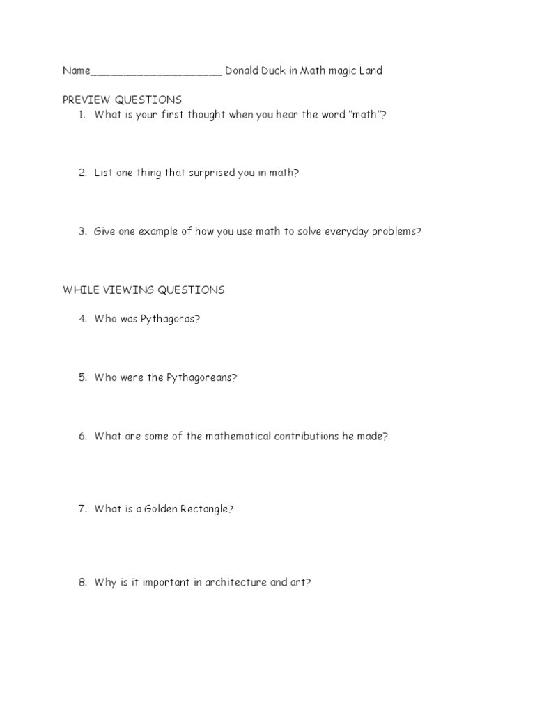 Donald In Mathmagic Land Worksheet Donald Duck In Mathmagic Land Questions