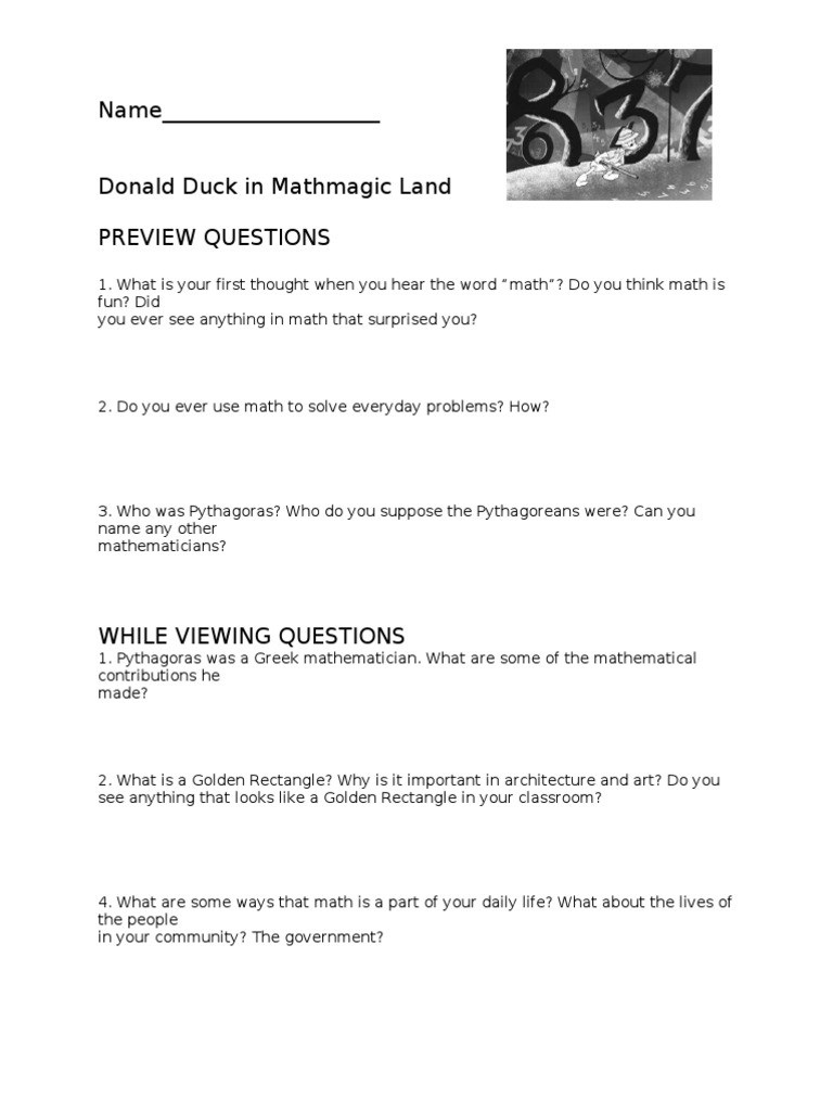 Donald In Mathmagic Land Worksheet Donald Duck Worksheet