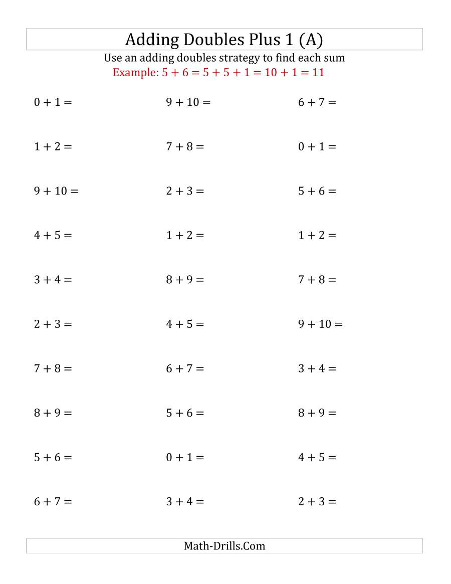 Doubles Math Facts Worksheet Adding Doubles Plus 1 Small Numbers A