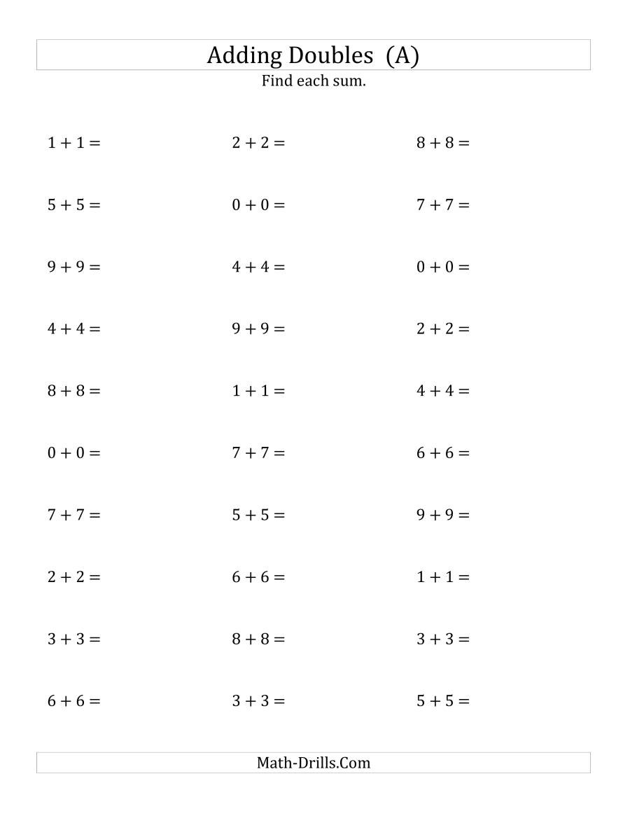 Doubles Math Facts Worksheet Adding Doubles Small Numbers A