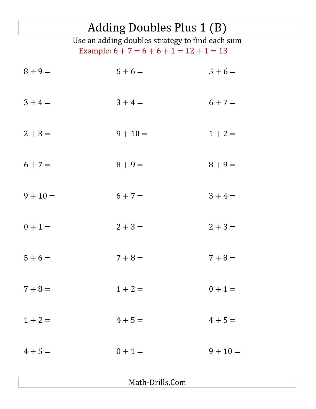 Doubles Math Facts Worksheet the Adding Doubles Plus 1 Small Numbers B Addition