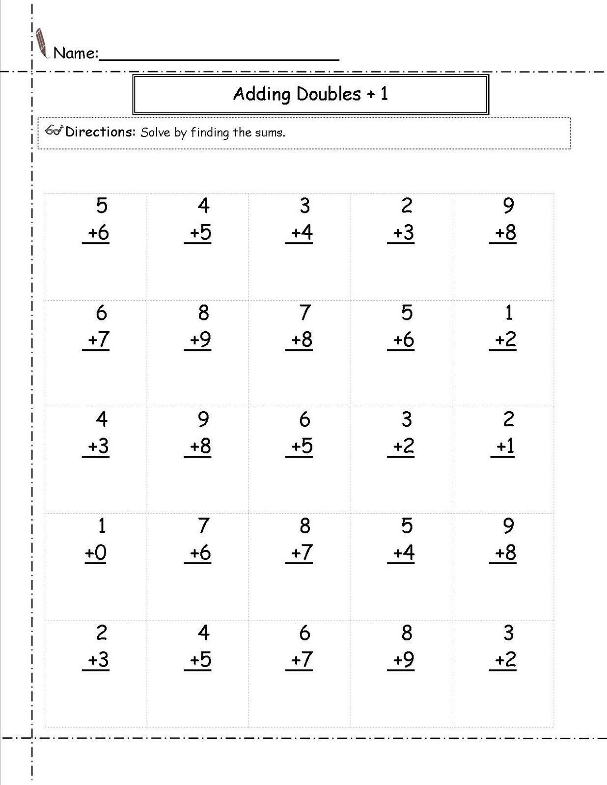 Doubles Worksheet First Grade 30 Doubles Math Worksheets In 2020