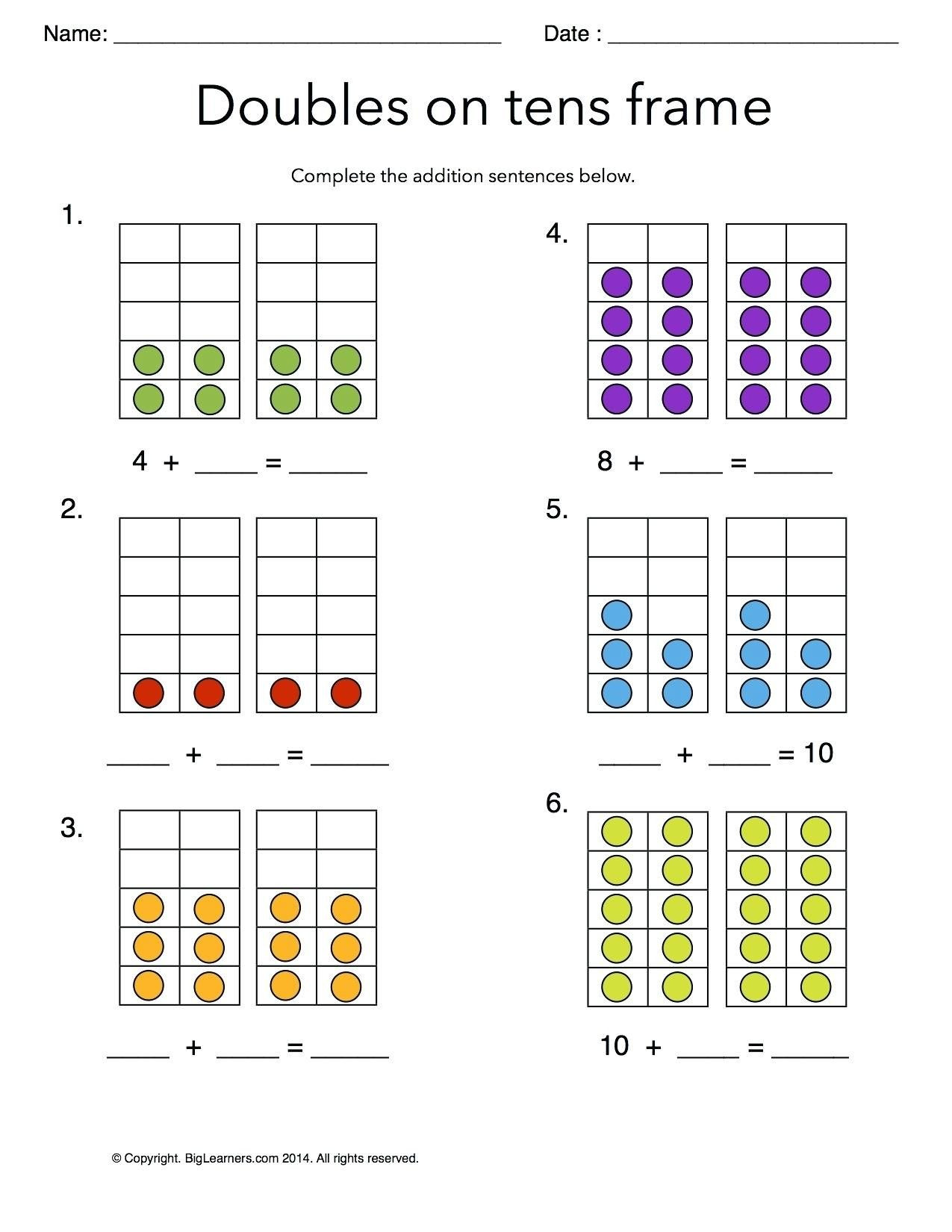 Doubles Worksheet First Grade 5 Free Math Worksheets First Grade 1 Addition Adding whole