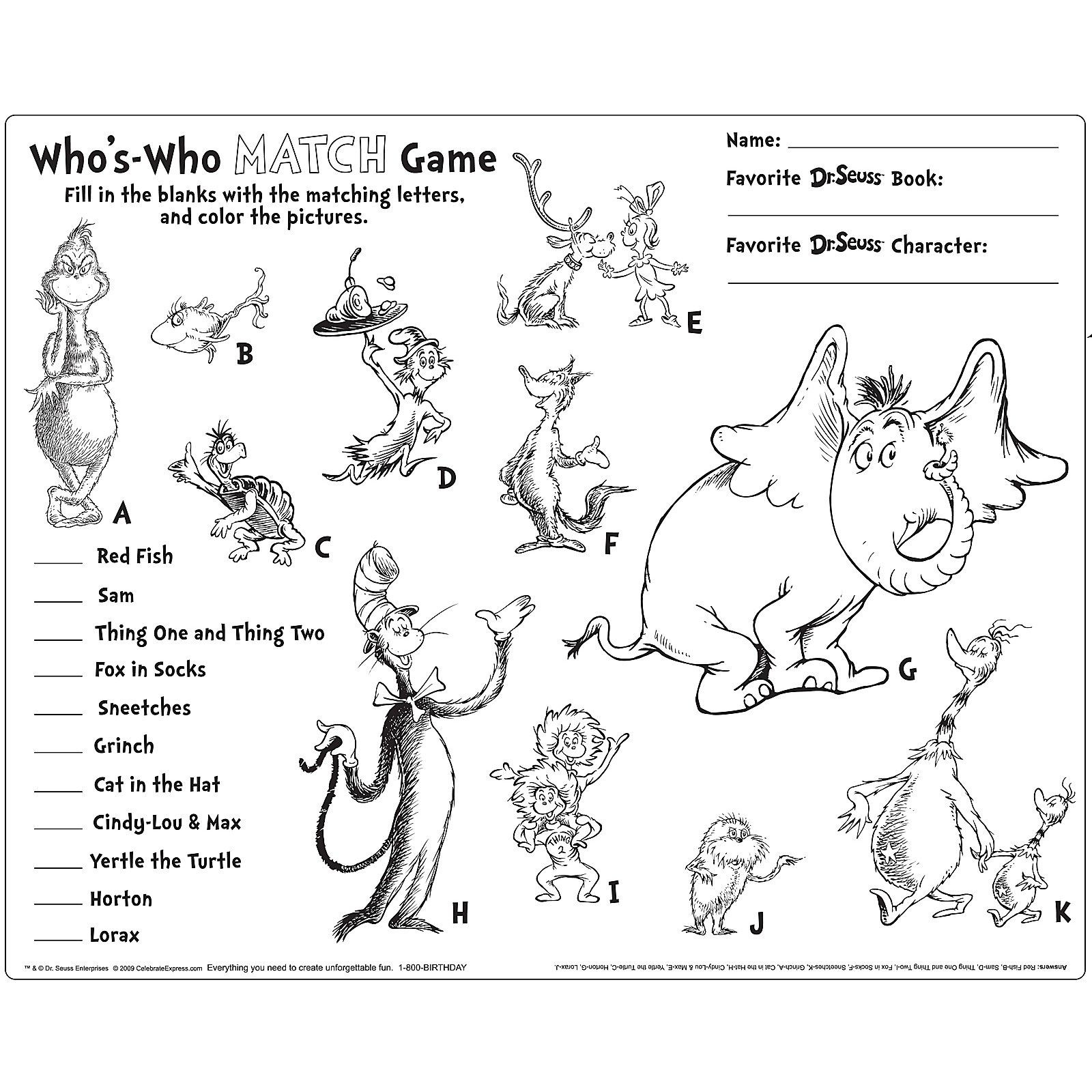 Dr Seuss Math Worksheets Dr Seuss Activity Placemats Birthdayexpress Alphabet