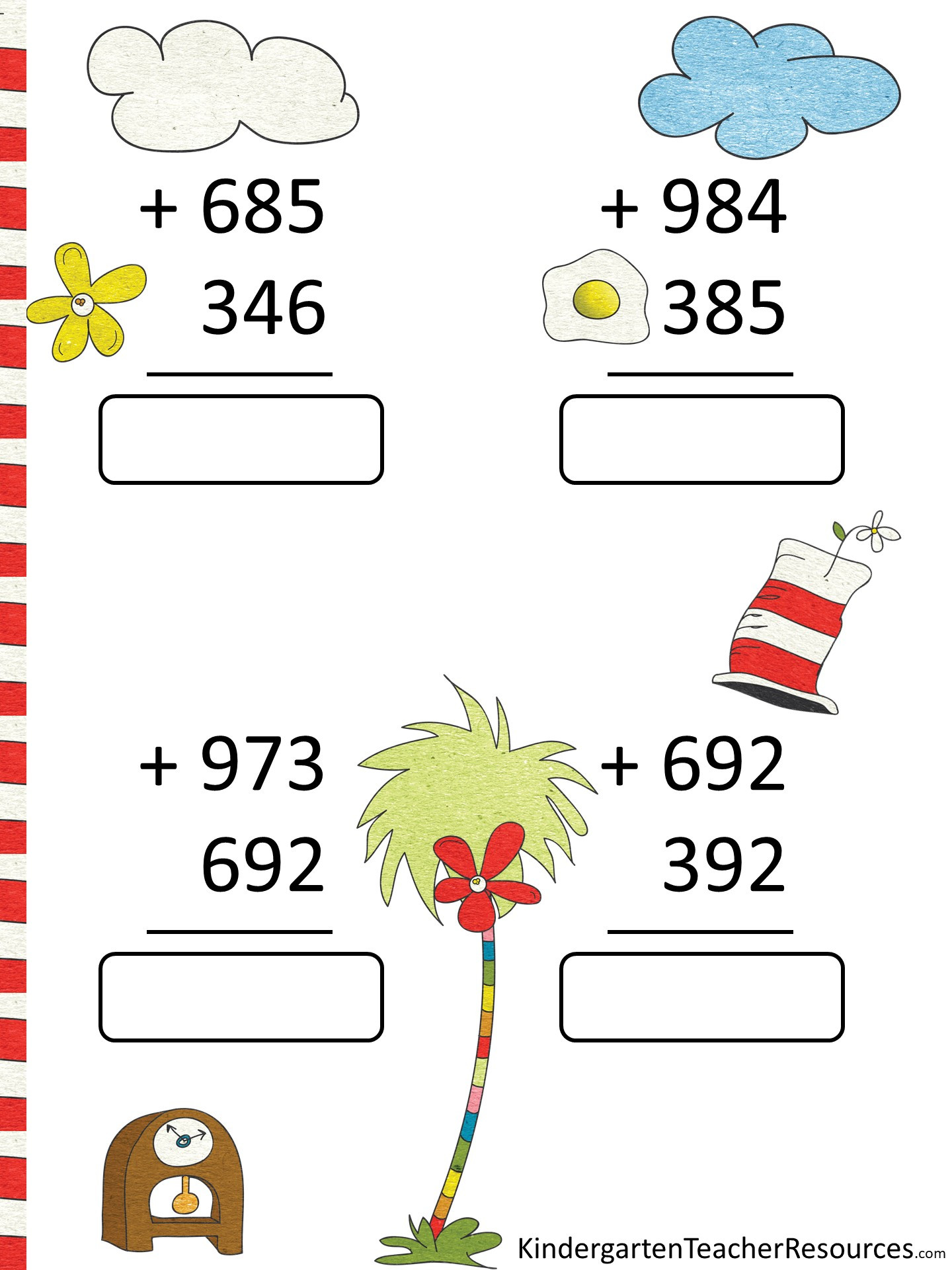 Dr Seuss Math Worksheets Free Dr Seuss Math Activities