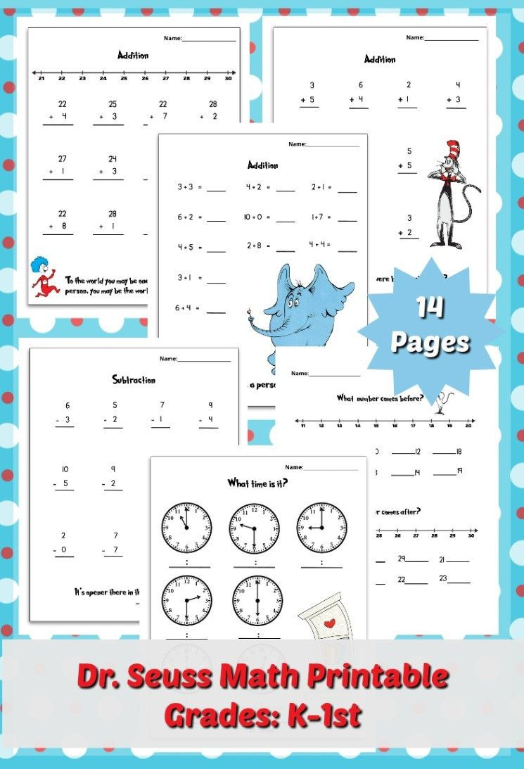 Dr Seuss Math Worksheets Free Dr Seuss Printable Math Pack