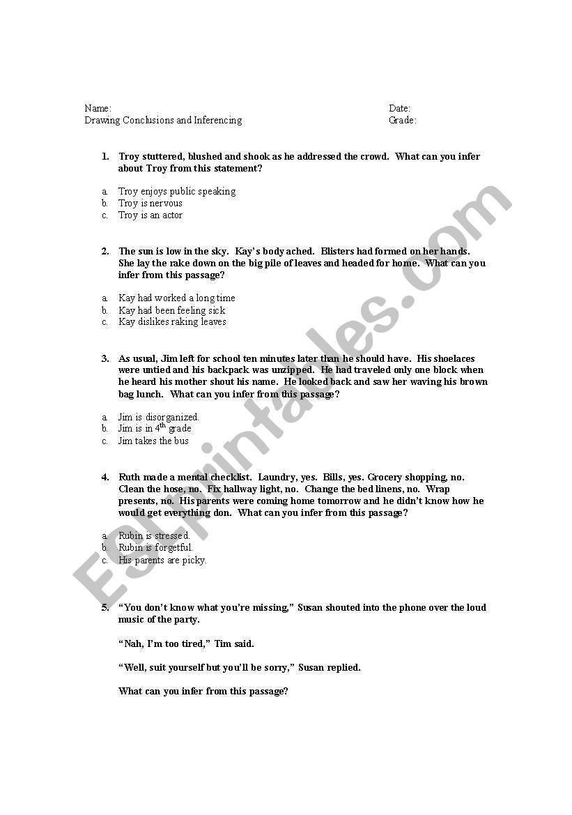 Draw Conclusions Worksheet 4th Grade Drawing Conclusions Worksheets 4th Grade Drawing Conclusions