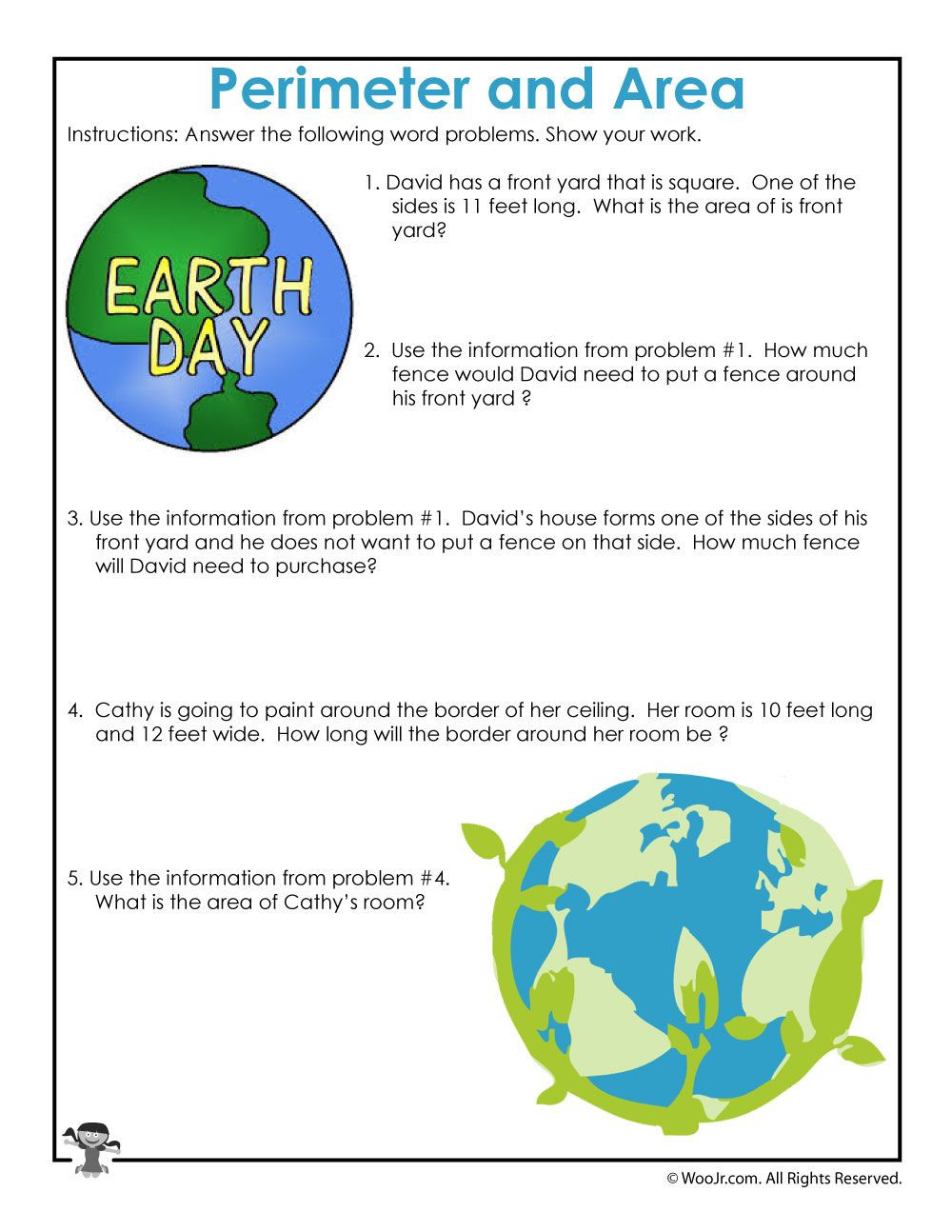 Earth Day Math Worksheets area and Perimeter Word Problem Worksheets for Earth Day