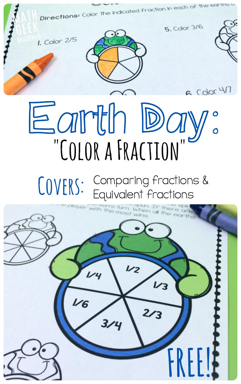 Earth Day Math Worksheets Earth Day Fraction Math Pack