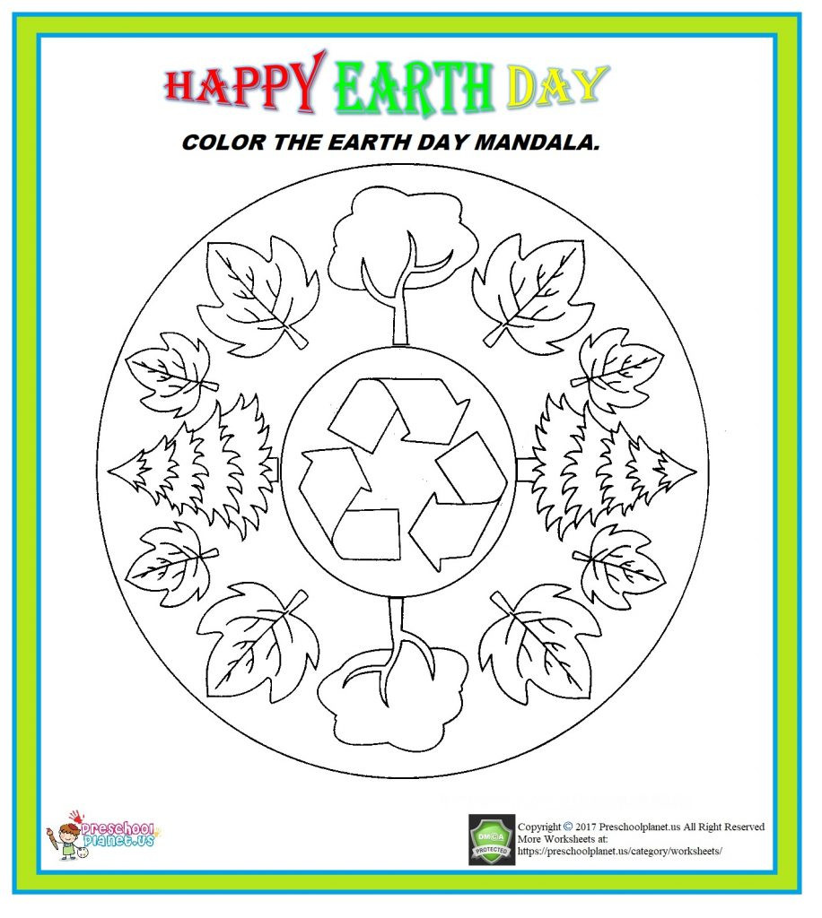 Earth Day Math Worksheets Earth Day Mandala Worksheet – Preschoolplanet