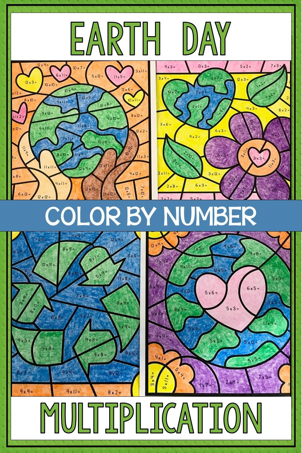 Earth Day Math Worksheets Earth Day Math Color by Number Multiplication