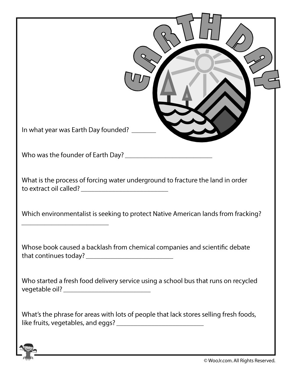Earth Day Math Worksheets Earth Day Printable Quiz
