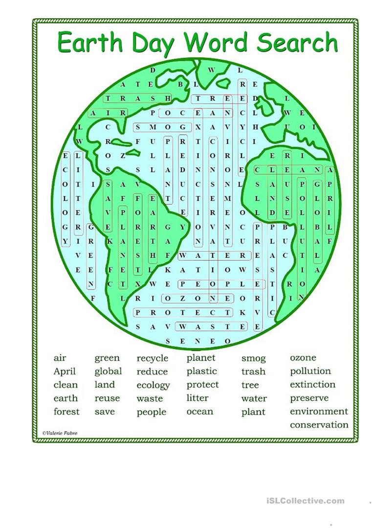Earth Day Math Worksheets Earth Word Search English Esl Worksheets for Distance