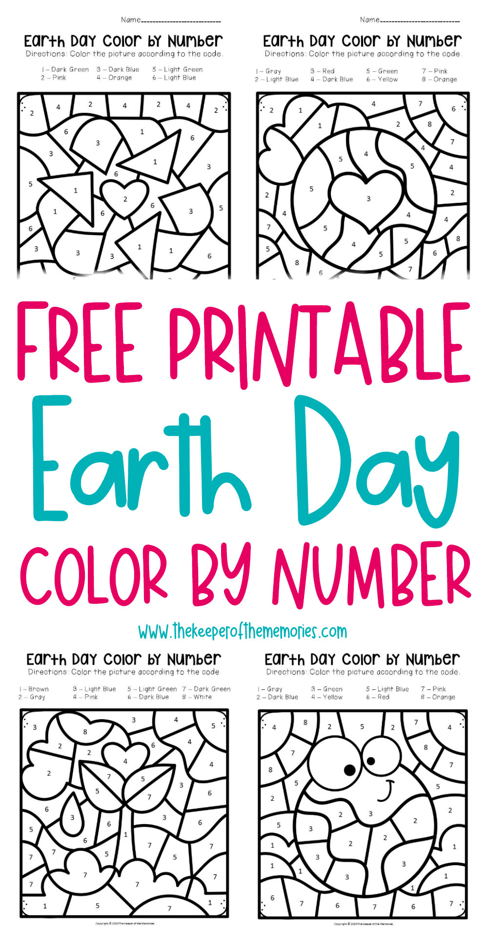 Earth Day Math Worksheets Free Printable Color by Number Earth Preschool Worksheets