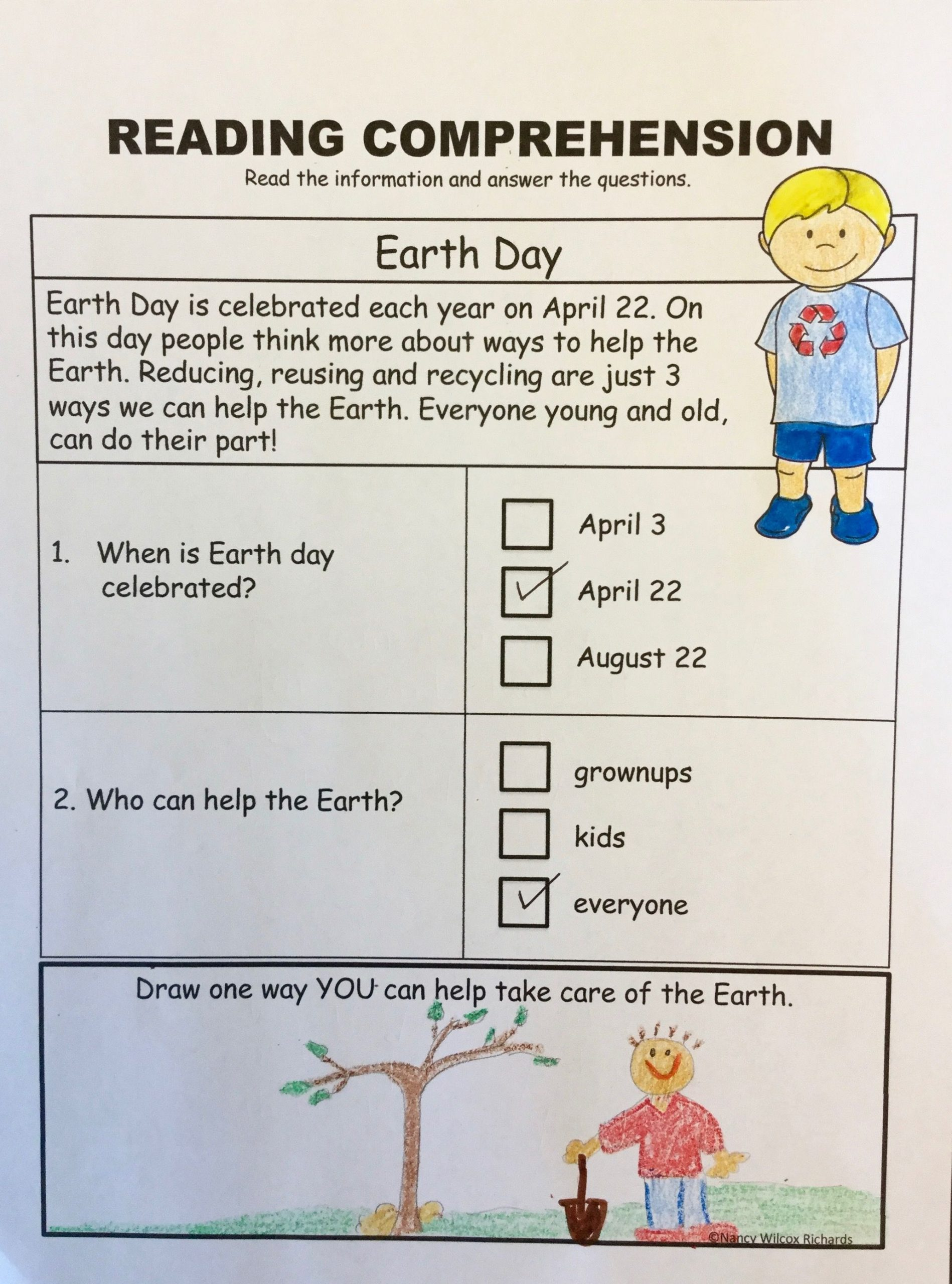 Earth Day Reading Comprehension Worksheets Earth Day Activities Earth Day Writing