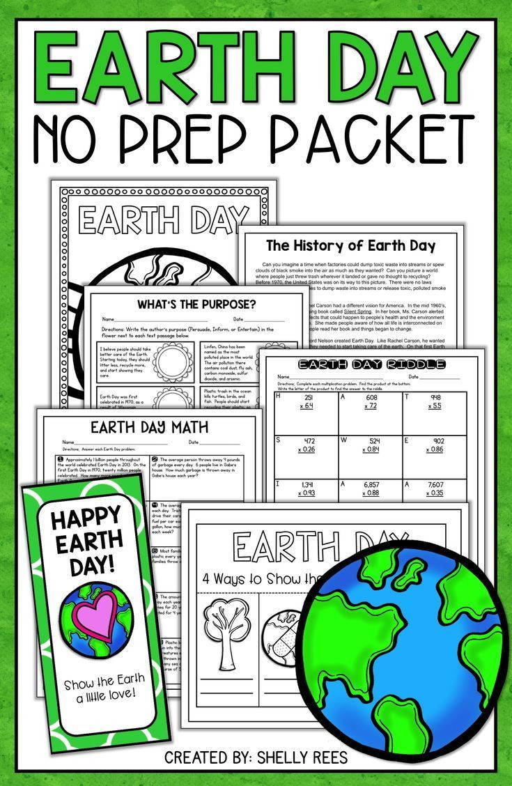 Earth Day Reading Comprehension Worksheets Earth Day Activities No Prep Packet