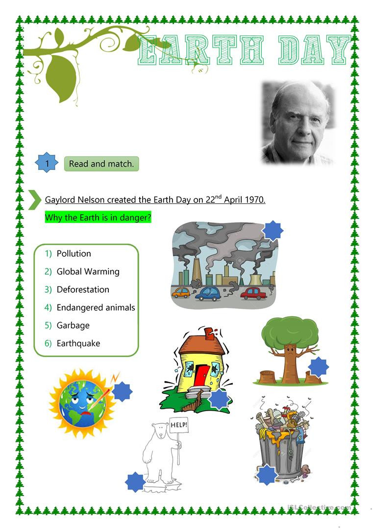 Earth Day Reading Comprehension Worksheets Earth Day English Esl Worksheets for Distance Learning and