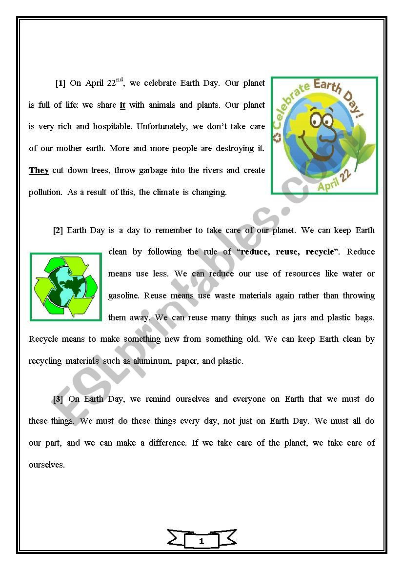 Earth Day Reading Comprehension Worksheets Earth Day Esl Worksheet by Echafiy