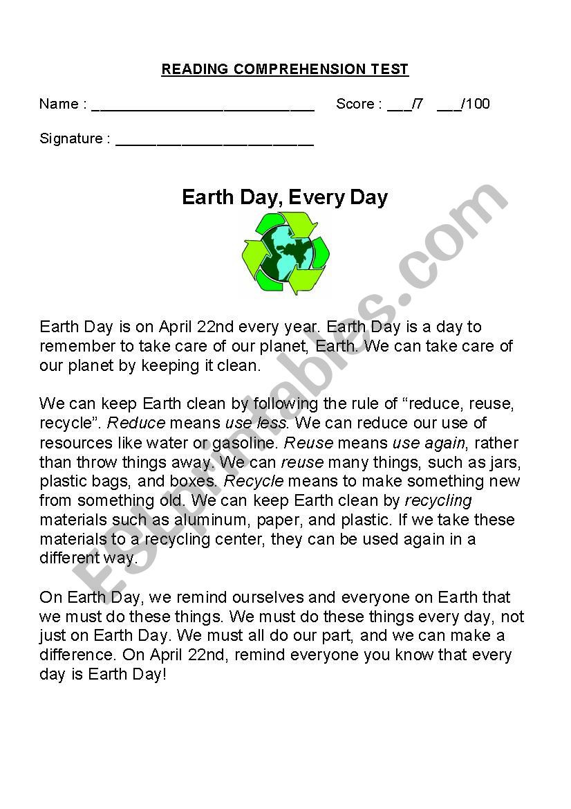 Earth Day Reading Comprehension Worksheets Earth Day Every Day Esl Worksheet by Rachelgionet