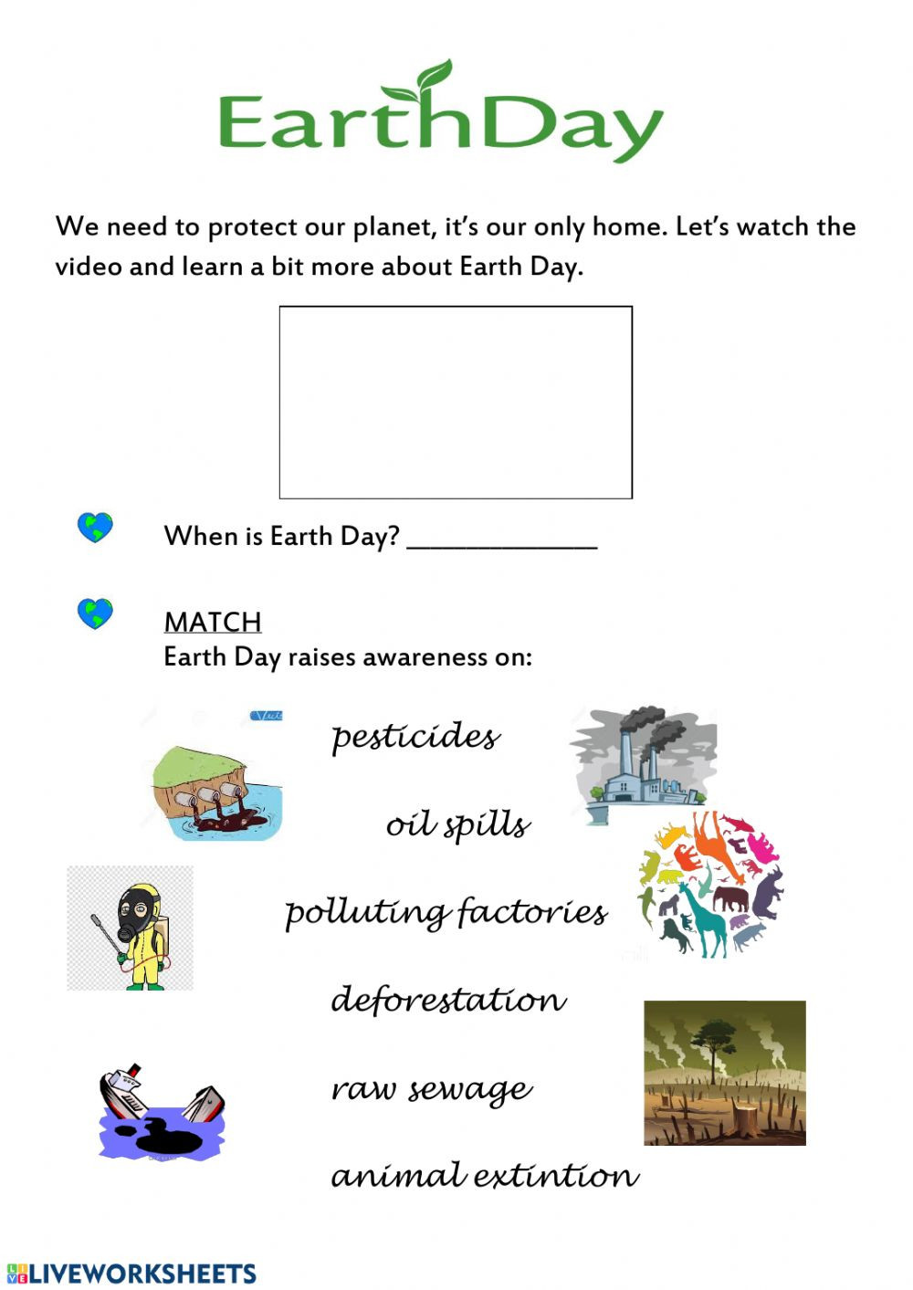 Earth Day Reading Comprehension Worksheets Earth Day Interactive Worksheet