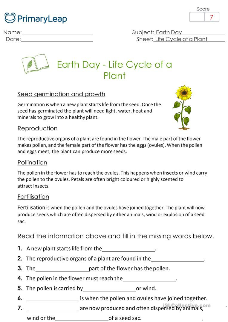 Earth Day Reading Comprehension Worksheets Earth Day Life Cycle Of A Plant English Esl Worksheets