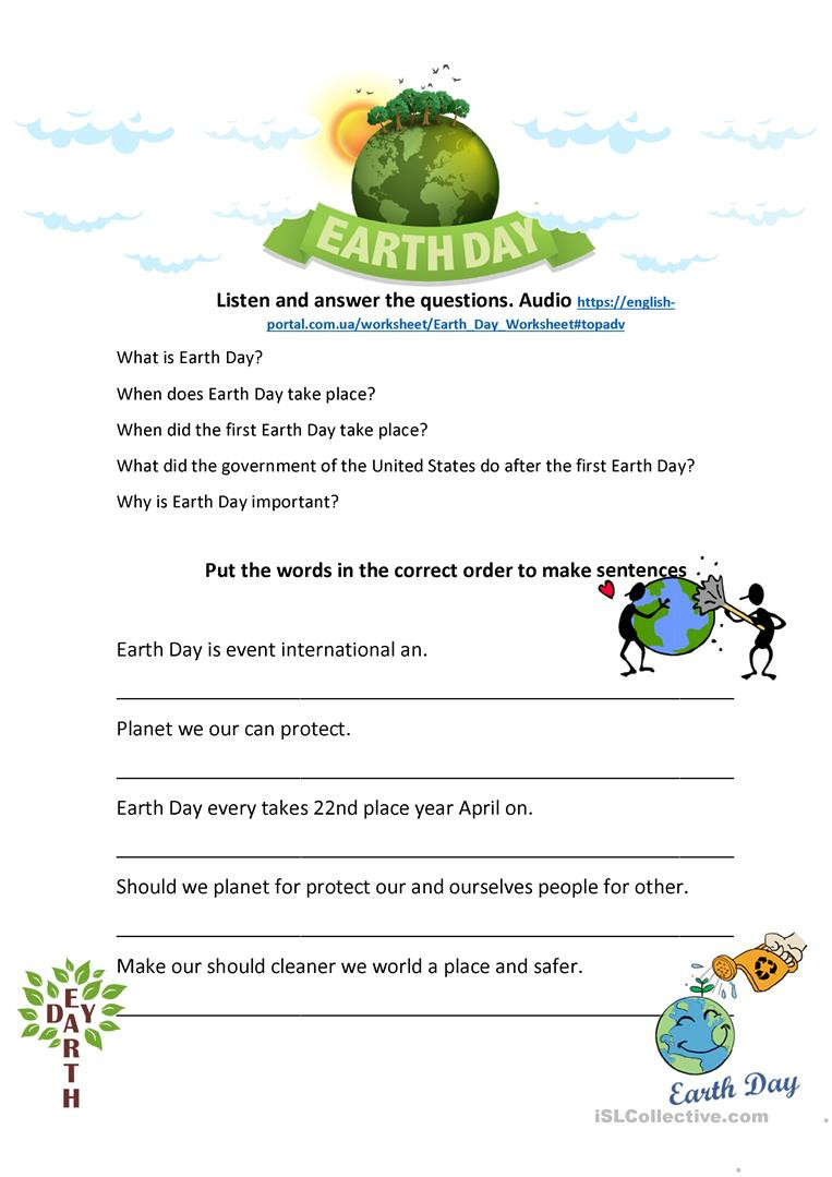 Earth Day Reading Comprehension Worksheets Earth Day Listening and Speaking English Esl Worksheets