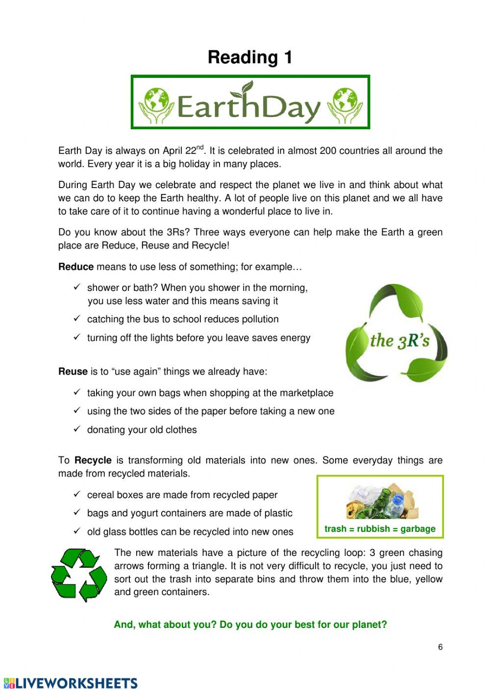 Earth Day Reading Comprehension Worksheets Earth Day Reading Interactive Worksheet