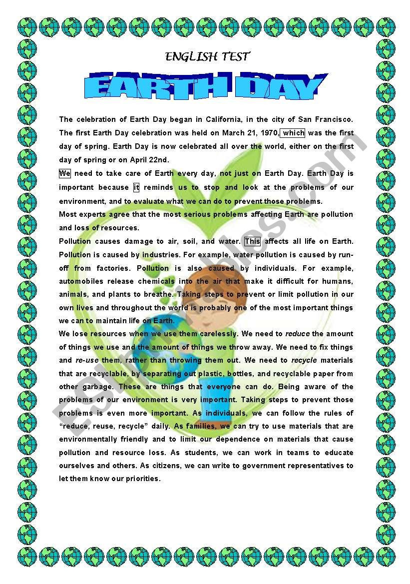 Earth Day Reading Comprehension Worksheets Earth Day Reading Prehension Esl Worksheet by 1961anucha