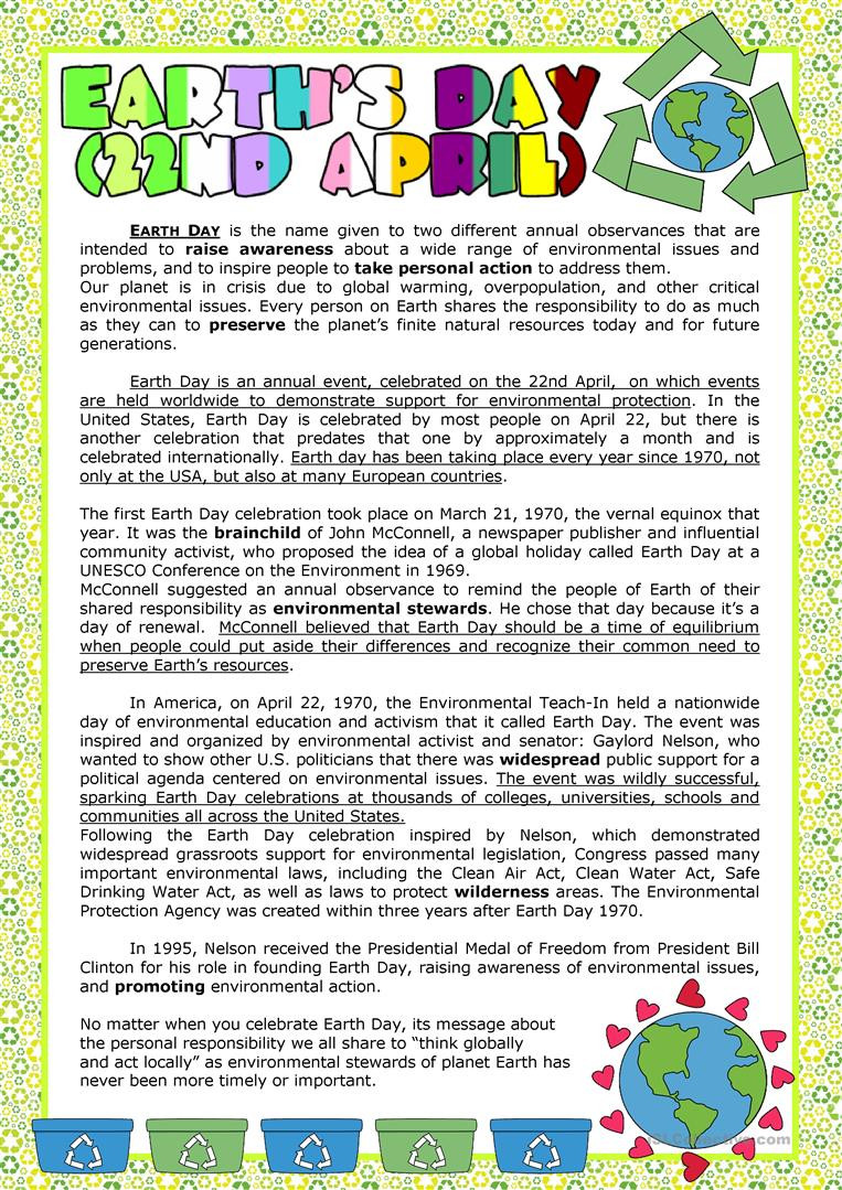 Earth Day Reading Comprehension Worksheets Earth S Day English Esl Worksheets for Distance Learning