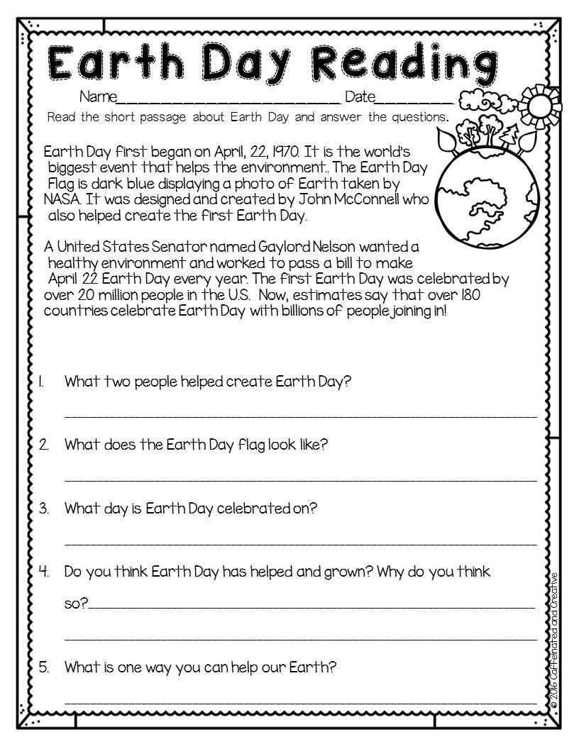 Earth Day Reading Comprehension Worksheets Spring Into Spring