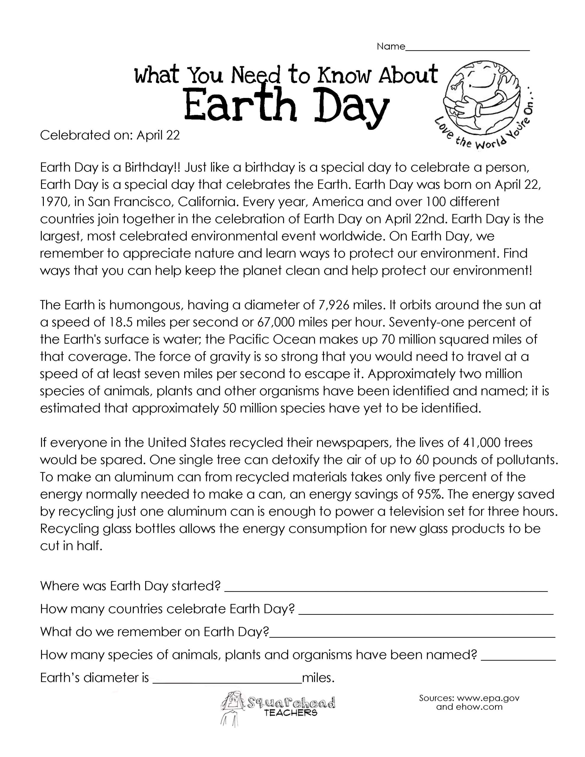 Earth Day Reading Comprehension Worksheets What You Need to Know About Earth Day