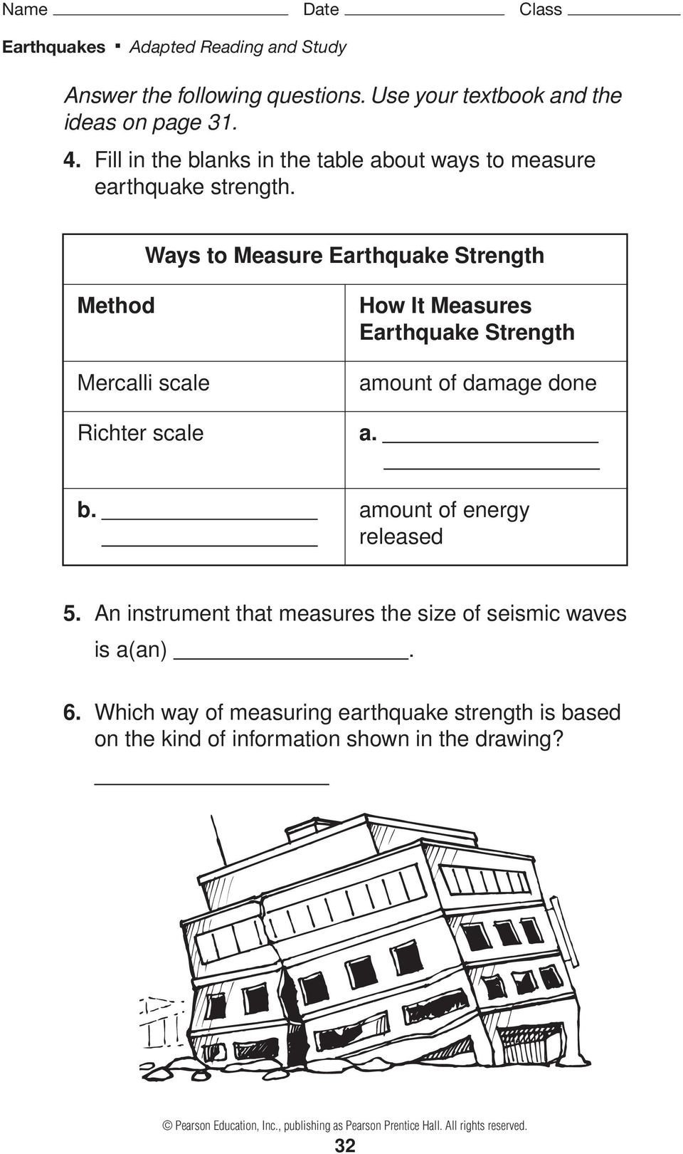 Earthquake Worksheets Middle School Earthquakes and Seismic Waves Pages 51 57 Pdf Free Download
