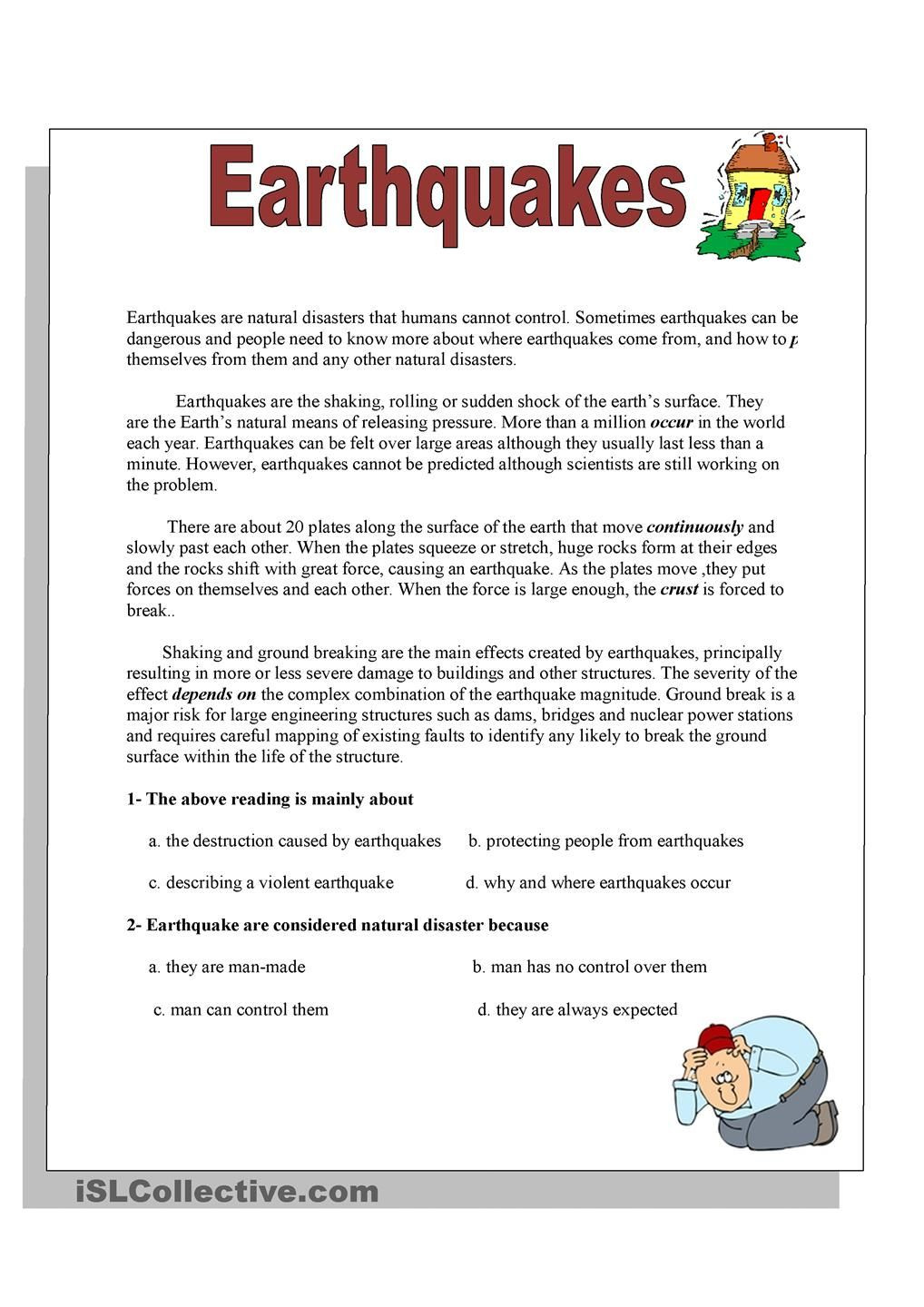 Earthquake Worksheets Middle School Earthquakes