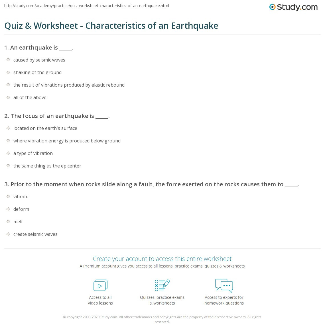 Earthquake Worksheets Middle School Quiz & Worksheet Characteristics Of An Earthquake