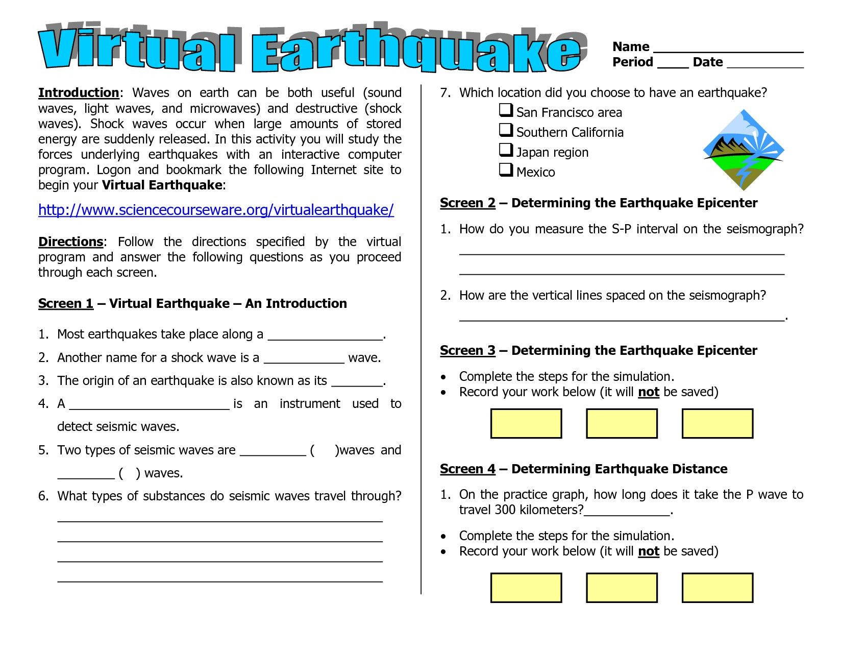 Earthquake Worksheets Middle School Worksheets Earthquakes