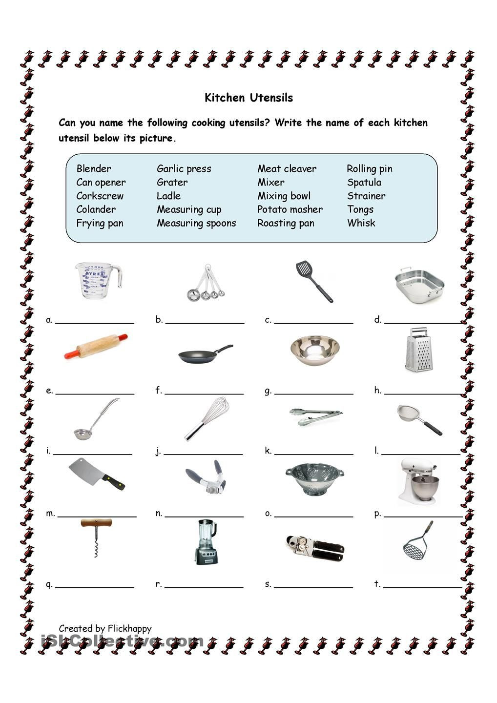 Economics Worksheets for 3rd Grade Kitchen Utensils with Life Skills Classroom Cooking
