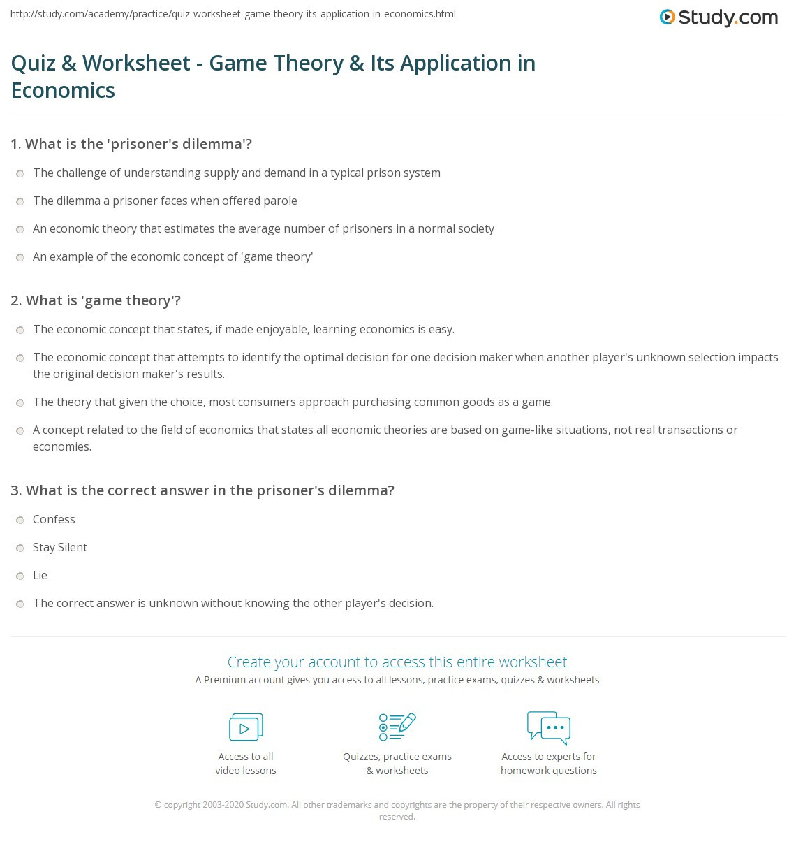 Economics Worksheets Middle School Quiz & Worksheet Game theory & Its Application In