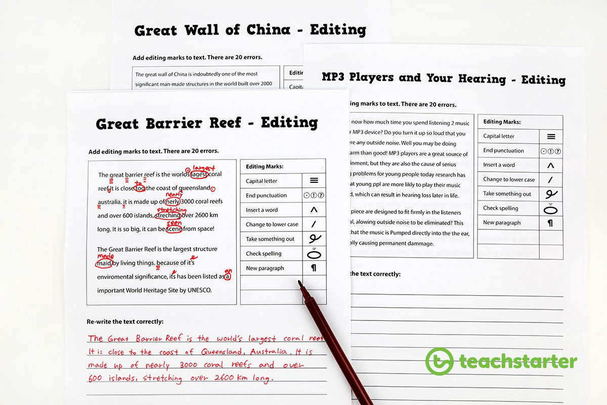 Editing Worksheet Middle School Editing Sentences Worksheet